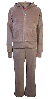 Childrens Velour Tracksuits Hoodys Joggers Set Girls Lounge Suit Mink Age 11-12