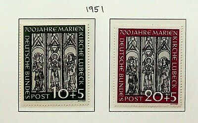 GERMANY 1951 700th ANNIVERSARY OF LUBECK ST MARY CHURCH 2v MINT STAMPS