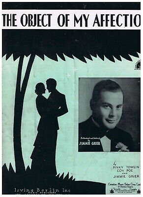 Object Of My Affection Sheet Music Pinky Tomlin Coe Poe Jimmie Grier