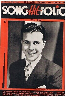 Vintage 1930s Song Hit Folio Dick Powell Cover Shipmates Forever Dizzy Dames