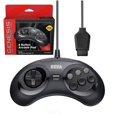 Retro-Bit Official Sega Genesis Controller 6-Button Arcade Pad  Black