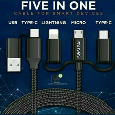 Joblot Wholesale 95 x 5 in 1 Charger - Iphone Lightning/USB-C/Micro USB Data 1M