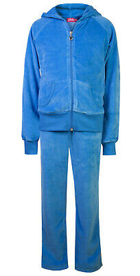 Childrens Velour Tracksuits Hoodys Joggers Set Girls Lounge Suit Sky Age 4-5