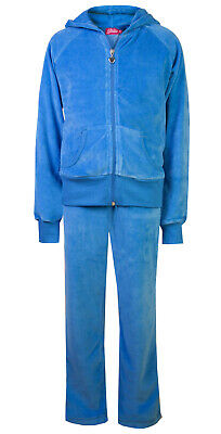 Childrens Velour Tracksuits Hoodys Joggers Set Girls Lounge Suit Sky Age 5-6