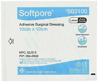 10 x Softpore Adhesive Surgical Dressings Sterile 10x10cm Cuts Burns Wounds