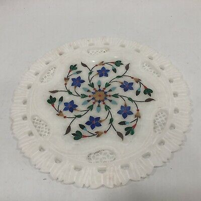 """Beautiful Carved White Marble Decorative 9"""" Plate Multicolor Floral"""