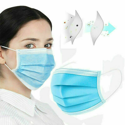 50 PC Bulk Blue Face Mask Mouth & Nose Protector Respirator Masks with Filter