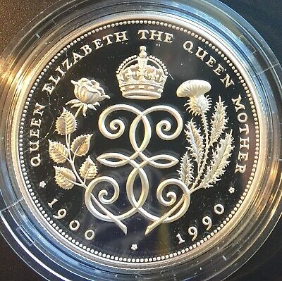 UK Crown .925 1990 Silver Proof Commemorative Queen Mother 90th Birthday