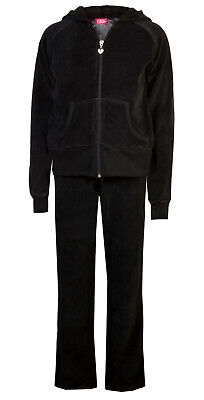 Childrens Velour Tracksuits Hoodys Joggers Set Girls Lounge Suit Black Age 5-6