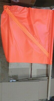 """Qty 10 NEW Flag Safety 18"""" X 18"""" Fluorescent Orange with 30"""" Wooden Staff  (BB4)"""