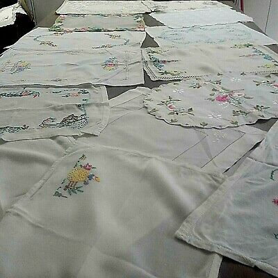 Collection Of Vintage Linen Embroidered Table Mats Very Decorative Job Lot