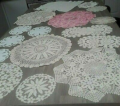 Collection Of 16 Vintage Crochet And Linen Doilies Very Decorative Job Lot