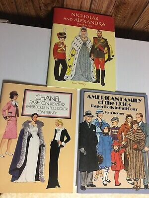 1980s / 1990s TOM TIERNEY Fashion History Books  Uncut  Paper Dolls Full Color