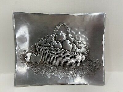 Wendell August Hand Made Aluminum Rectangle Small Tray Dish Basket Apples