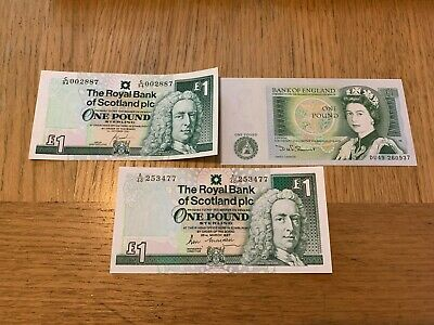 Royal Bank Of Scotland Unc  £1 Note X2 - 1 X Bank Of England £1 Note Unc