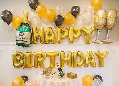 Gold Birthday Party Decorations Set with Happy Birthday Balloons Banner(43 pcs)