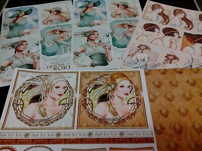 Clear Out Art Deco Themed Toppers & Backing Debbi Moore & Other Card Making