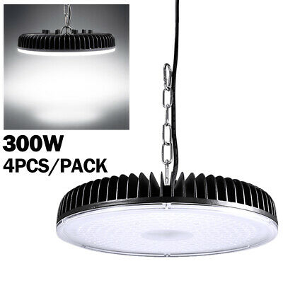 4x 300W LED High Bay/Low Light Chain Mount Cool White Gym Industrial Lighting