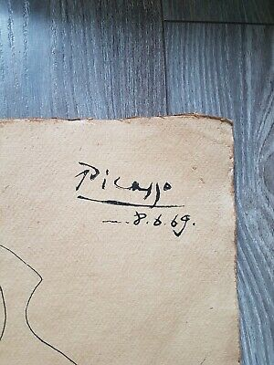 Pablo Picasso Original Rare Ink Drawing Handsigned Not A Print!