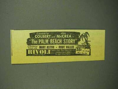1942 The Palm Beach Story Movie Ad - Claudette Colbert