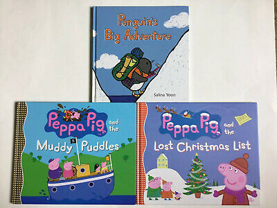 Peppa Pig Children's Books & Penguin's Adventure, Lot Of 3, Hardcover, Pre-owned