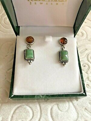 Paul Livingston Amber Chrysoprase Sterling Silver Drop Earrings Stamped Signed