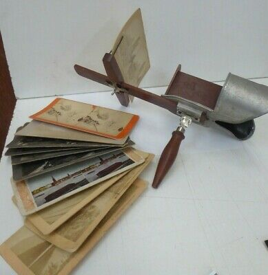 Underwood New York 1901 Stereo Card Wooden Hand Held Viewer And Cards