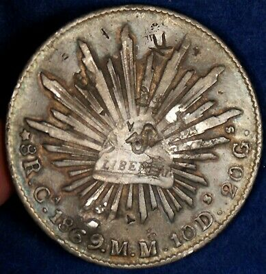 1869-Ca Mexico 8 Reales Cap & Rays Silver Coin - w/ChopMarks