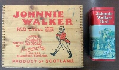 Johnnie Walker Red Label Scotch Whiskey Wood Crate And Tin