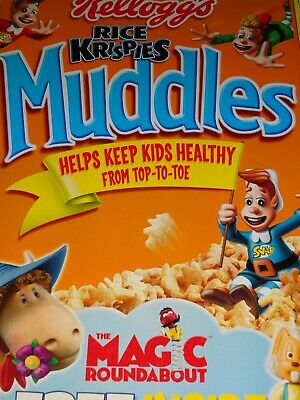 VINTAGE CEREAL BOX Kellogg's UK Rice Krispies MUDDLES Bought in England 2005