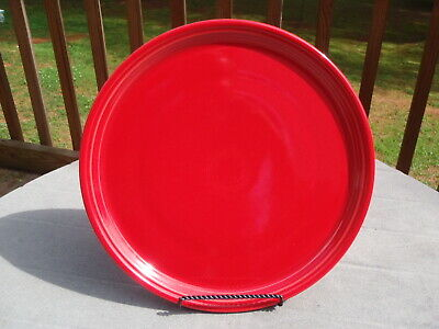 """Homer Laughlin Fiestaware FIESTA Glossy Primary Red 15"""" PIZZA TRAY PAN PLATE EUC"""