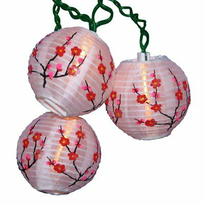 White Chinese Paper Lanterns with Red Flowers Christmas Light Set of 10 Lights