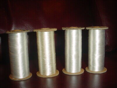"FOUR (4) VERY LARGE Vintage Spools of White SILK Thread each spool is 4"" tall"