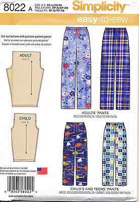 Simplicity Sewing Pattern 8022 Childs, Teens & Adults Sz Xs-L & Xs-Xl Easy Pants