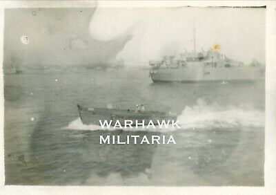WWII LST-307 Photo Lot: US Higgins Boat Moving In Sea, Normandy June 1944