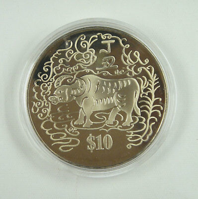 Singapore 10 Dollars Coin 1997 UNC, Year of the Ox, Chinese Lunar Year