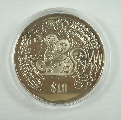 Singapore 10 Dollars Coin 1996 UNC, Year of the Rat, Chinese Lunar Year