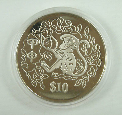 Singapore 10 Dollars Coin 2004 UNC, Year of the Monkey, Chinese Lunar Year