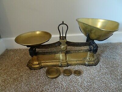 Antique Cast Iron & Brass W& T Avery Balance Scales with Weights Weighs to 10lb