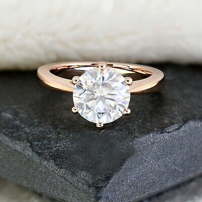 2.00 Ct Round Cut VVS1 Diamond Solitaire Engagement Ring 14k Rose Gold Over