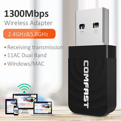 2.4G/5G 1300Mbps Wifi Adapter WLAN USB 3.0 Wireless Dongles Stick Dual band DHL