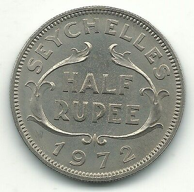 High Grade Bu 1972 Seychelles Half Rupee Coin-Jun256