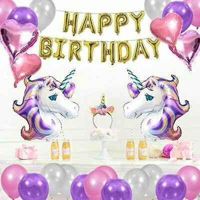 Unicorn Happy Birthday Balloons Party Decorations Supplies set, Foil Banner