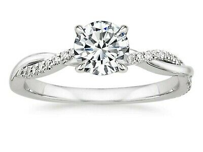 Platinum Petite Twisted Vine Diamond Engagement Ring 0.46 Carat (Size 6)