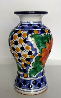 Mexican ceramic vase, Hand painted, Small, Flowers, Dots