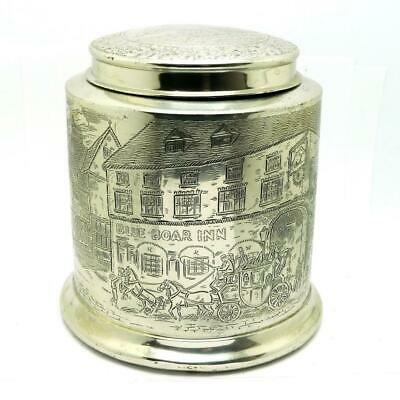 Vintage 1910s Reed & Barton Silverplate BLUE BOAR Tobacco Tin Jar + Original Can
