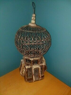 Rare Antique Wood And Wire Bird Cage With Architectural Victorian Dome