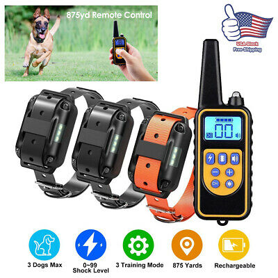 Pet Dog Shock Training Collar Rechargeable Remote Control Waterproof 875 Yards