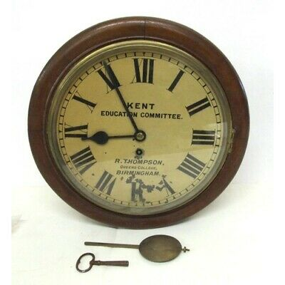 Mid C19th Fusee Wall Dial Clock with mahogany stained case