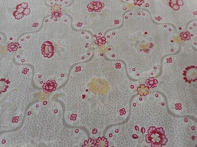 Antique French 30's Floral Dot Light Cotton Fabric ~Softened Red Pink Mustard